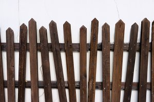 Wooden fence on the wall