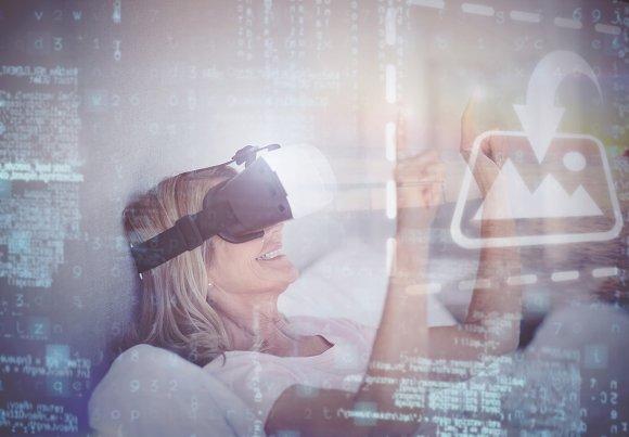 Woman Lying Down Using VR Headset