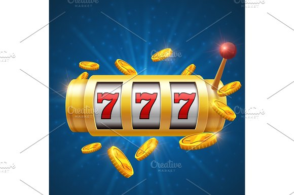 Winner Gambling Vector Background With Slot Machine Casino Jackpot Concept