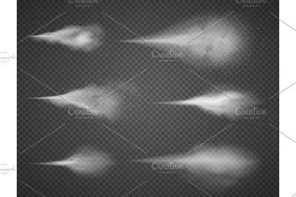 Airy Water Spray Mist Vector Set Sprayer Fog Isolated On Black Transparent Background