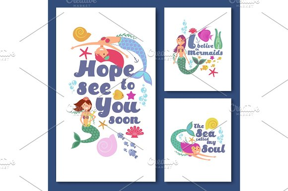 Cute Kids Nautical Vector Cards Marine Childrens Invitations With Funny Mermaid Girls