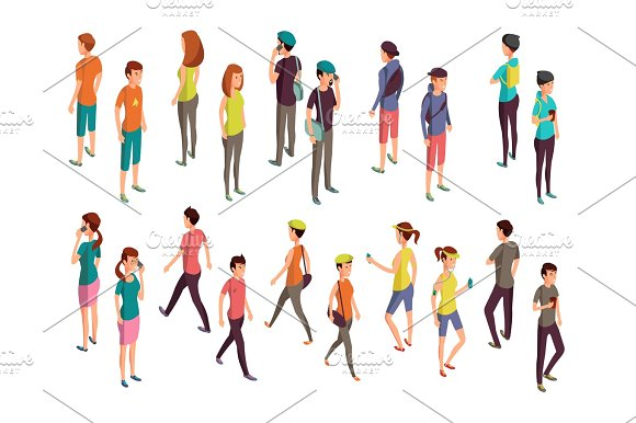 Isometric 3D People Young Casual Persons Vector Set