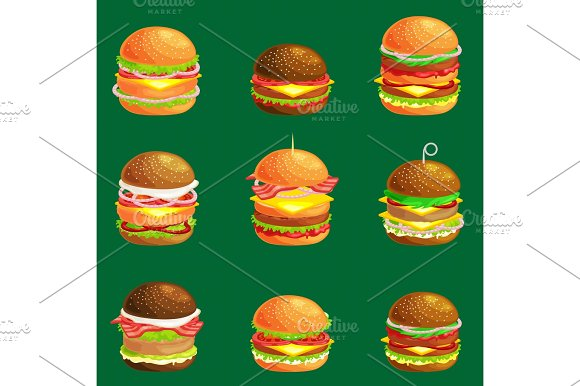 Set Of Tasty Burger Grilled Beef And Fresh Vegetables Dressed With Sauce In Bun For Snack Or Lunch Hamburger Is Classical American Fast Food Meal Usual Menu Could Be Barbecue Meat Bread Tomato Cheese