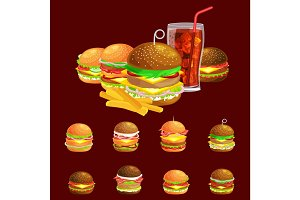Set of tasty burgers grilled beef and fresh vegetables dressed with sauce bun for snack, american hamburger fast food meal French fries with cold soda brown ice drink vecor illustration background