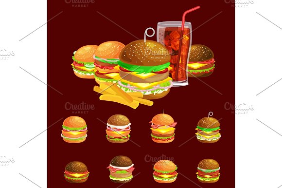 Set Of Tasty Burgers Grilled Beef And Fresh Vegetables Dressed With Sauce Bun For Snack American Hamburger Fast Food Meal French Fries With Cold Soda Brown Ice Drink Vecor Illustration Background