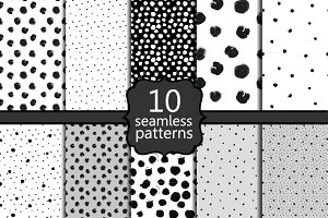 10 seamless black and white patterns