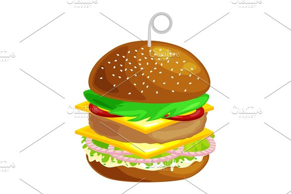 Tasty Burger Grilled Beef And Fresh Vegetables Dressed With Sauce In Bun For Snack Or Lunch Hamburger Classical American Fast Food Meal Usual Menu Could Be Barbecue Meat Bread Tomato Cheese On White