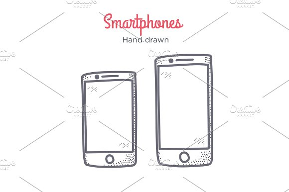 Smartphone Illustration Hand Drawn Doodle Icon Line Style