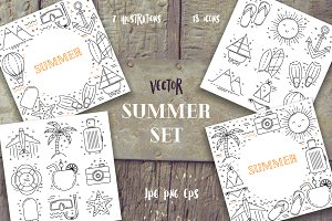 Summer line art set