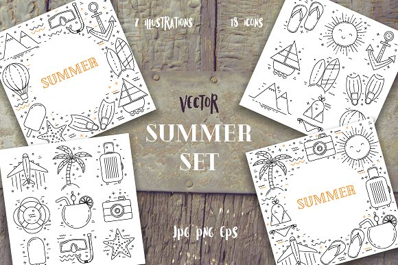 Summer Line Art Set
