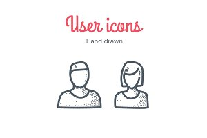 User icons set. Male and Female. Hand drawn illustration. Line style.