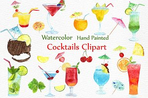 Watercolor Cocktails clipart