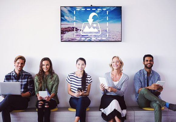 Group On Devices Beneath TV Mockup