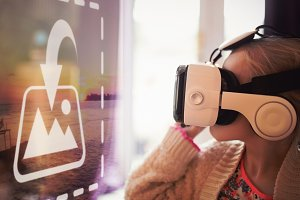 Girl Using VR Headset Screen Mockup