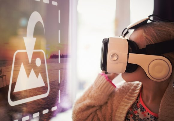 Girl Using VR Headset Screen Mockup