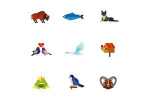 Animals, birds and fish icon set