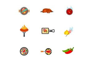 Barbecue icon set