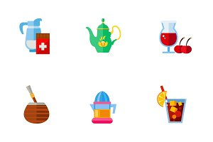 Beverage icon set