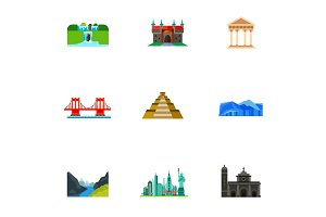 Destinations icon set