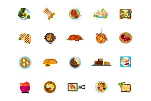Dishes icon set