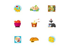 Eating icon set