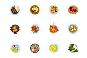 Ethnic cuisine icon set