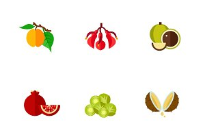 Exotic fruits icon set