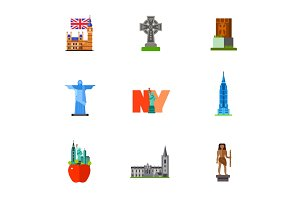 Famous places icon set