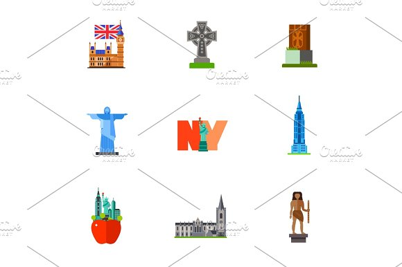 Famous Places Icon Set