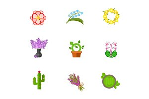 Flower concept icon set