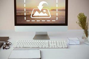 Computer On Desk Mockup