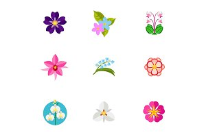 Flower symbols icon set
