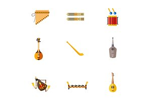 Folk musical instruments icon set