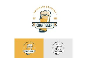 Original vintage craft beer logo. Template for beer house, bar, pub, brewing company, brewery, tavern, taproom, alehouse, dram shop.