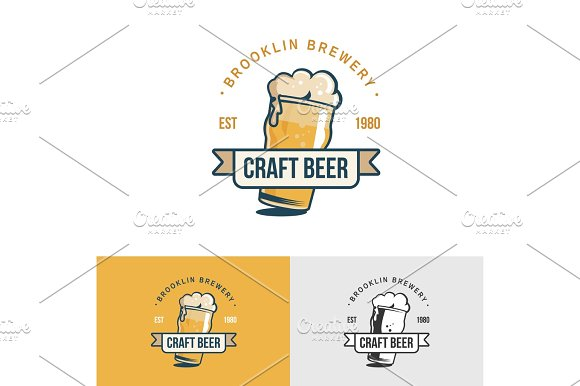 Original Vintage Craft Beer Logo Template For Beer House Bar Pub Brewing Company Brewery Tavern Taproom Alehouse Dram Shop