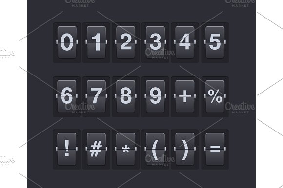 Set Of Numbers And Symbols On A Mechanical Scoreboard Vector Template