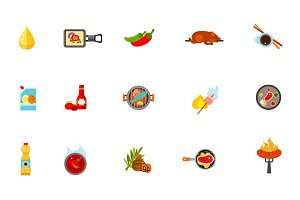 Grilled food icon set