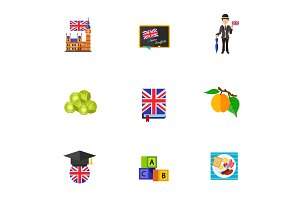 Learning English icon set
