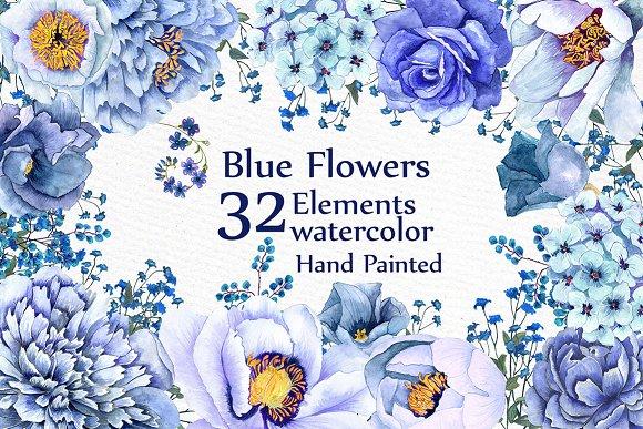 Blue Watercolor Flowers Clipart