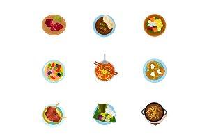 National cuisine icon set