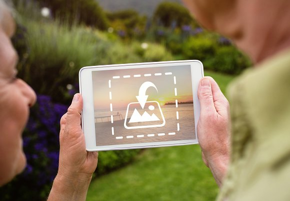Couple Using Tablet Outdoors Mockup