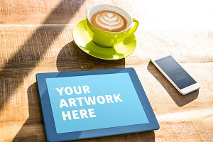 Tablet On Desk In Sun Mockup