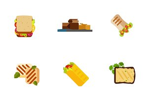 Snack icon set