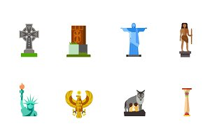 Statues icon set