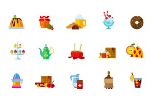 Sweet food icon set