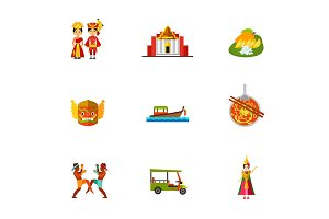 Thailand icon set