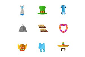 Traditional clothing icon set