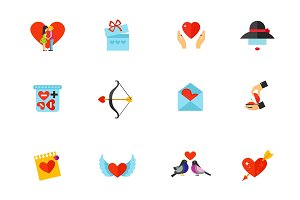 Valentines day and love icon set