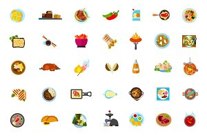 Various dishes icon set