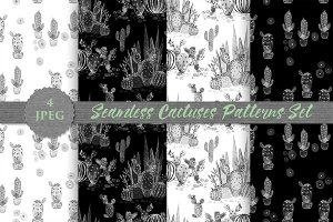 SALE MONOCHROMIC cactuses patterns